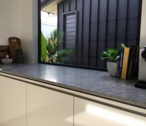 Hewitson Homes Caesarstone Turbine Grey & Intense White RJK